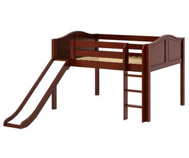 Maxtrix AMAZING Low Loft Bed with Slide Full Size Chestnut | Maxtrix Furniture | MX-AMAZING-CX