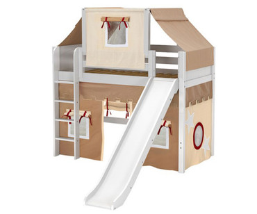 Maxtrix AWESOME Mid Loft Bed with Tent & Slide Twin Size White 6 | Maxtrix Furniture | MX-AWESOME30-WX