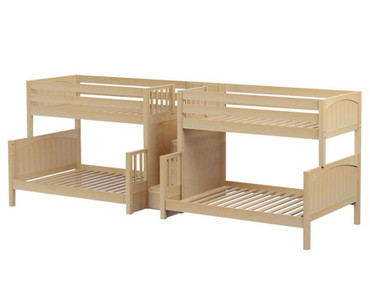 Maxtrix BIGBANG Quadruple Bunk Bed with Stairs Twin over Full Size Natural | Maxtrix Furniture | MX-BIGBANG-NX