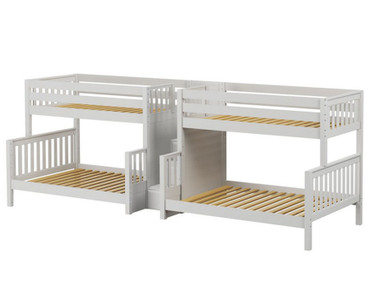 Maxtrix BIGBANG Quadruple Bunk Bed with Stairs Twin over Full Size White | Maxtrix Furniture | MX-BIGBANG-WX