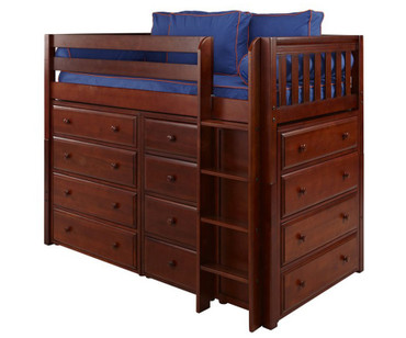 Maxtrix BLING Mid Loft Bed w/ Dressers Twin Size Chestnut | Maxtrix Furniture | MX-BLING-CX