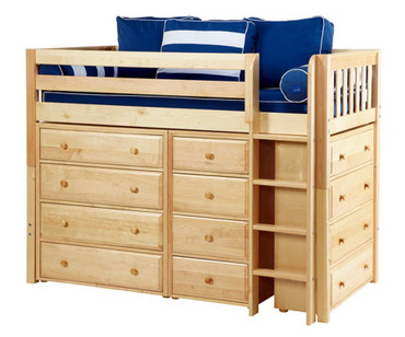 Maxtrix BLING Mid Loft Bed w/ Dressers Twin Size Natural | Maxtrix Furniture | MX-BLING-NX