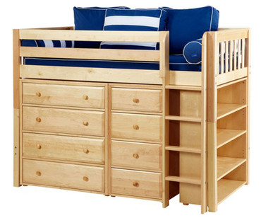 Maxtrix BLING Mid Loft Bed w/ Dressers & Bookcase Twin Size Natural | Maxtrix Furniture | MX-BLING2-NX