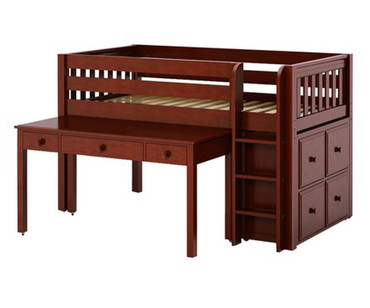 Maxtrix BOX Storage Low Loft Bed with Desk Twin Size Chestnut | Maxtrix Furniture | MX-BOX10-CX