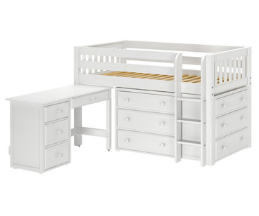 Maxtrix BOX Storage Low Loft Bed with Desk Twin Size White | Maxtrix Furniture | MX-BOX1L-WX