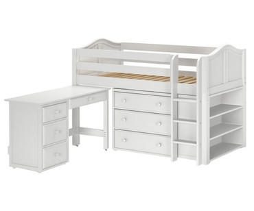 Maxtrix BOX Low Loft Bed w/ Storage & Desk Twin Size White | Maxtrix Furniture | MX-BOX3L-WX