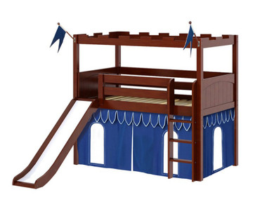 Maxtrix CAMELOT Castle Low Loft Bed with Slide Twin Size Chestnut | Maxtrix Furniture | MX-CAMELOT5-CX
