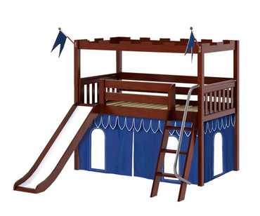 Maxtrix CAMELOT Castle Low Loft Bed with Slide Twin Size Chestnut 1 | Maxtrix Furniture | MX-CAMELOT7-CX