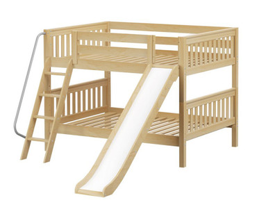 Maxtrix CLIFF Low Bunk Bed w/ Slide Full Size Natural | Maxtrix Furniture | MX-CLIFF-NX