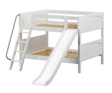 Maxtrix CLIFF Low Bunk Bed w/ Slide Full Size White | Maxtrix Furniture | MX-CLIFF-WX