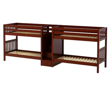 Maxtrix COOL Quadruple Medium Bunk Bed with Stairs Twin Size Chestnut | Maxtrix Furniture | MX-COOL-CX