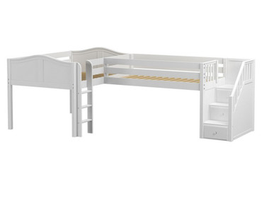 Maxtrix COUPLET Corner Low Loft Bed Full Size White | Maxtrix Furniture | MX-COUPLET-WX