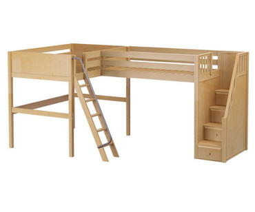 Maxtrix CREST Corner High Loft Bed Full Size Natural | Maxtrix Furniture | MX-CREST-NX