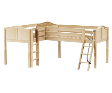 Maxtrix DOUBLE Corner Low Loft Bed Twin Size Natural | Maxtrix Furniture | MX-DOUBLE-NX
