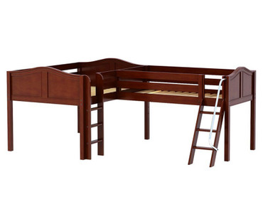 Maxtrix DUET Corner Low Loft Bed Full Size Chestnut | Maxtrix Furniture | MX-DUET-CX
