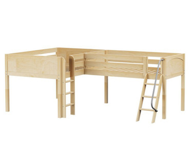 Maxtrix DUET Corner Low Loft Bed Full Size Natural | Maxtrix Furniture | MX-DUET-NX