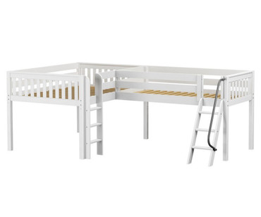 Maxtrix DUET Corner Low Loft Bed Full Size White | Maxtrix Furniture | MX-DUET-WX