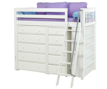 Maxtrix EMPEROR High Loft Bed Twin Size White | Maxtrix Furniture | MX-EMPEROR2-WX