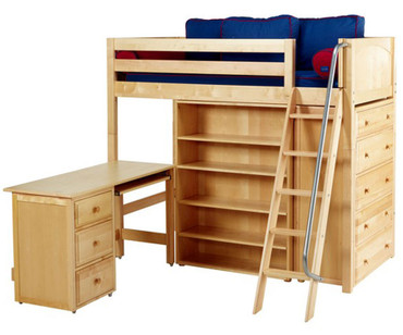 Maxtrix EMPEROR High Loft Bed with Desk Twin Size Natural | Maxtrix Furniture | MX-EMPEROR3L-NX