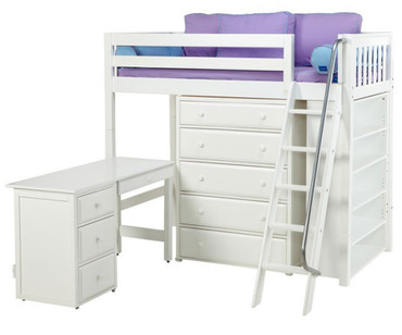 Maxtrix EMPEROR High Loft Bed with Desk Twin Size White   Maxtrix Furniture   MX-EMPEROR3L-WX