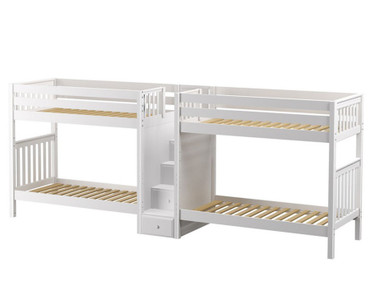 Maxtrix EXCELLENT Quadruple High Bunk Bed with Stairs Twin Size White | Maxtrix Furniture | MX-EXCELLENT-WX