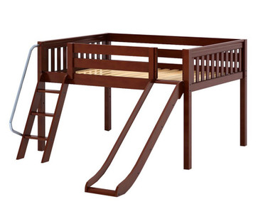 Maxtrix FANTASTIC Low Loft Bed with Slide Full Size Chestnut | Maxtrix Furniture | MX-FANTASTIC-CX