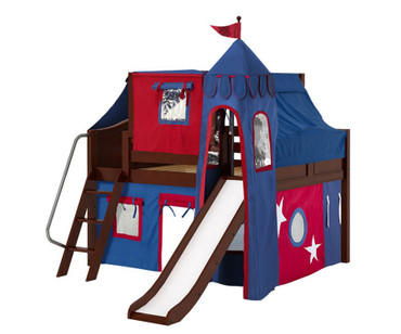 Maxtrix FANTASTIC Castle Low Loft Bed with Slide Full Size Chestnut | Maxtrix Furniture | MX-FANTASTIC21-CX