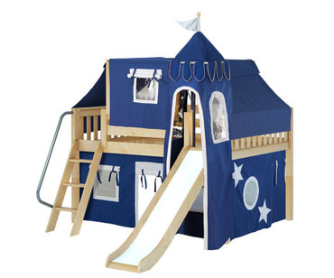 Maxtrix FANTASTIC Castle Low Loft Bed with Slide Full Size Natural 1 | Maxtrix Furniture | MX-FANTASTIC22-NX