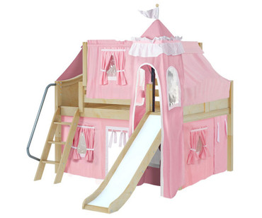 Maxtrix FANTASTIC Castle Low Loft Bed with Slide Full Size Natural 2 | Maxtrix Furniture | MX-FANTASTIC23-NX