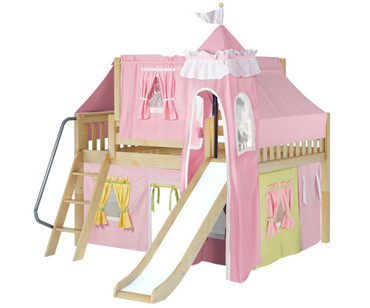 Maxtrix FANTASTIC Castle Low Loft Bed with Slide Full Size Natural 3 | Maxtrix Furniture | MX-FANTASTIC25-NX