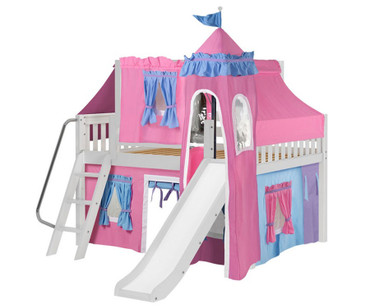 Maxtrix FANTASTIC Castle Low Loft Bed with Slide Full Size White | Maxtrix Furniture | MX-FANTASTIC28-WX