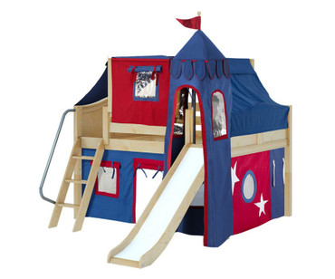 Maxtrix FANTASTIC Castle Low Loft Bed with Slide Full Size Natural 6 | Maxtrix Furniture | MX-FANTASTIC29-NX