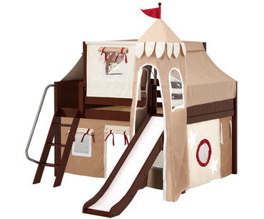 Maxtrix FANTASTIC Castle Low Loft Bed with Slide Full Size Chestnut 7 | Maxtrix Furniture | MX-FANTASTIC30-CX