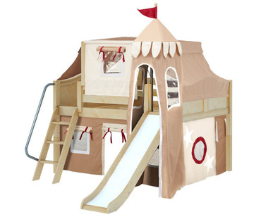 Maxtrix FANTASTIC Castle Low Loft Bed with Slide Full Size Natural 7 | Maxtrix Furniture | MX-FANTASTIC30-NX