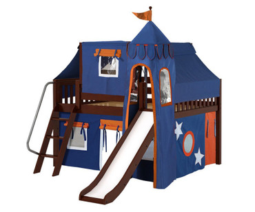 Maxtrix FANTASTIC Castle Low Loft Bed with Slide Full Size Chestnut 8 | Maxtrix Furniture | MX-FANTASTIC42-CX