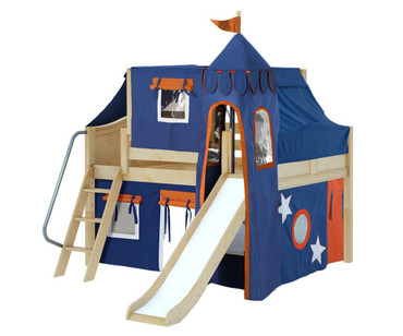 Maxtrix FANTASTIC Castle Low Loft Bed with Slide Full Size Natural 8 | Maxtrix Furniture | MX-FANTASTIC42-NX
