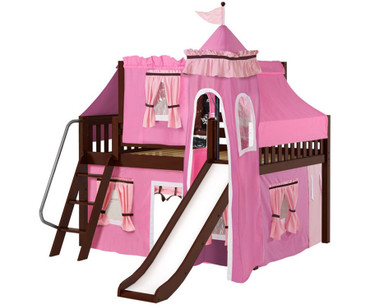 Maxtrix FANTASTIC Castle Low Loft Bed with Slide Full Size Chestnut 9 | Maxtrix Furniture | MX-FANTASTIC73-CX