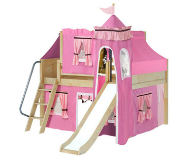 Maxtrix FANTASTIC Castle Low Loft Bed with Slide Full Size Natural 9 | Maxtrix Furniture | MX-FANTASTIC73-NX