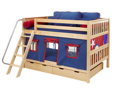 Maxtrix Full over Full Bunk Bed with Angled Ladder and Curtains | Maxtrix Furniture | MX-FATCT2