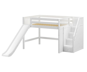 Maxtrix FINE Mid Loft Bed with Stairs and Slide Full Size White | Maxtrix Furniture | MX-FINE-WX