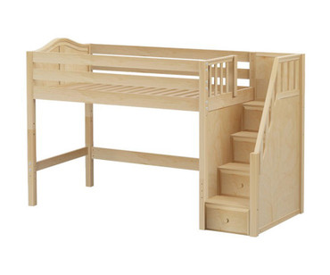 Maxtrix GALANT Mid Loft Bed with Stairs Twin Size Natural | Maxtrix Furniture | MX-GALANT-NX