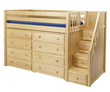 Maxtrix GALANT Mid Loft Bed with Stairs & Dressers Twin Size Natural | Maxtrix Furniture | MX-GALANT3-NX