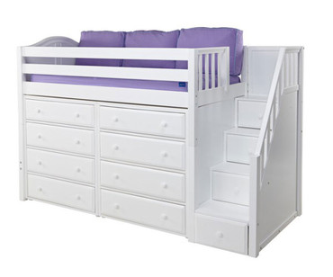 Maxtrix GALANT Mid Loft Bed with Stairs & Dressers Twin Size White | Maxtrix Furniture | MX-GALANT3-WX