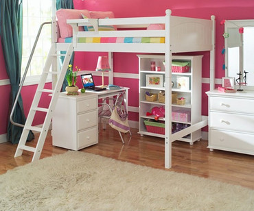 Maxtrix GIANT High Loft Bed with Desk and Bookcase Full Size White | Maxtrix Furniture | MX-GIANTX-WX