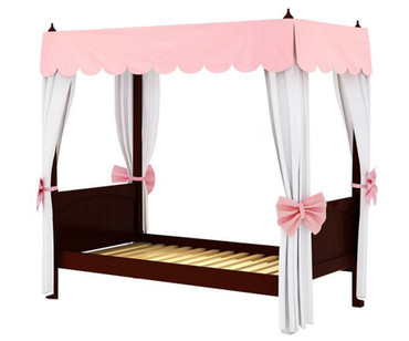 Maxtrix GOLDILOCKS Princess Poster Bed w/ Curtains & Canopy Twin Size Chestnut | Maxtrix Furniture | MX-GOLDILOCKS3-CX