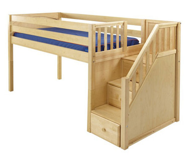 Maxtrix GREAT Low Loft Bed with Stairs Twin Size Natural | Maxtrix Furniture | MX-GREAT-NX