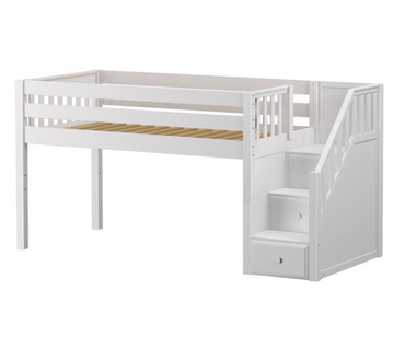 Maxtrix GREAT Low Loft Bed with Stairs Twin Size White | Maxtrix Furniture | MX-GREAT-WX