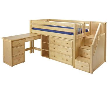 Maxtrix GREAT Storage Low Loft Bed with Stairs & Desk Twin Size Natural | Maxtrix Furniture | MX-GREAT2L-NX