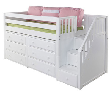Maxtrix GREAT Storage Low Loft Bed with Stairs Twin Size White 1 | Maxtrix Furniture | MX-GREAT3-WX