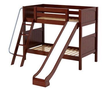 Maxtrix HAPPY Medium Bunk Bed w/ Slide Twin Size Chestnut | Maxtrix Furniture | MX-HAPPY-CX